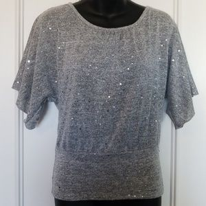 Iz Byer Gray Sparkly Top With Back Lace Detail